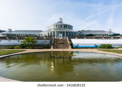 Copenaghen, Denmark, Europe - 1st May 2019 - Main greenhouse of the botanical garden of copenaghen, Danmark, North europe.