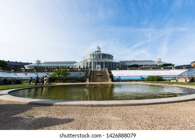 Copenaghen, Denmark, Europe - 1st May 2019 -panoramic view of the greenhouse of the botanical garden in Copenaghen, Danmark.