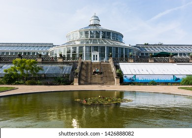 Copenaghen, Denmark, Europe - 1st May 2019 -One of the biggest greenhouse of europe, located inside the botanical garden of Copenaghen, Danmark.