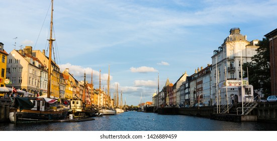 Copenaghen, Denmark, Europe - 1st May 2019 - wide angle view of the main canal of Nyhavn, the nicest place to visit in Copenaghen, Danmark.