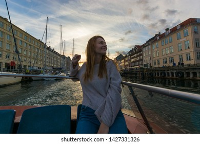 Copenaghen, Denmark, Europe - 1st May 2019 -Beautiful european girl enjoying her holidays in Copenaghen, Danmark.