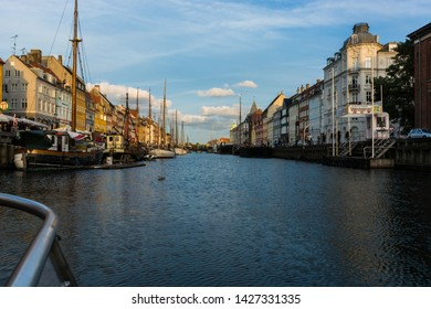 Copenaghen, Denmark, Europe - 1st May 2019 - View of the main canal  of Nyhavn from a boat, Copenaghen, Danmark.