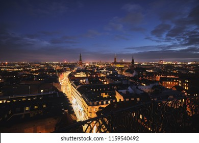 Copenhagen from above at night
