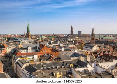 Copenhagen aerial view city skyline from Round Tower, Copenhagen Denmark