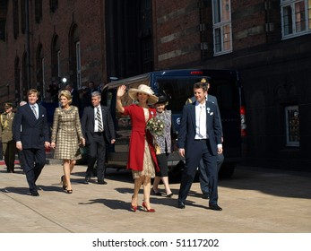 COPENHAGEN - APR 16: HRH Crown Prince Frederik and Princess Mary and other Royals waves at the crowd during the celebration of Queen Margrethe's 70th birthday on April 16, 2010 in Copenhagen.