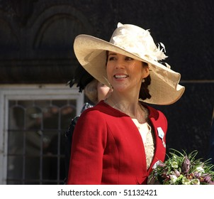 COPENHAGEN - APR 16: HRH Crown Princess Mary of Denmark at the Copenhagen City Hall for the celebration of Queen Margrethe's 70th birthday on April 16, 2010 in Copenhagen.