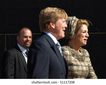 COPENHAGEN - APR 16: HRH Prince Willem Alexander and his spouse Princess Maxima of The Netherlands visits Copenhagen for the celebration of Queen Margrethe's 70th birthday on April 16, 2010 in Copenhagen.