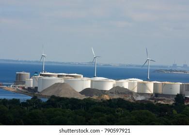 Copenhagen: aug 21, 2017 - Huge windmill farm in the ocean in Denmark capital.
