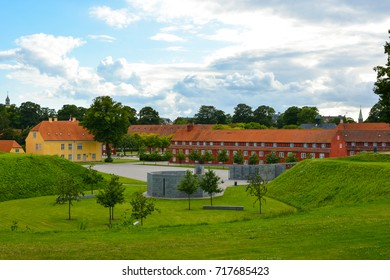 The Copenhagen Citadel (Kastellet), old red buildings in European city