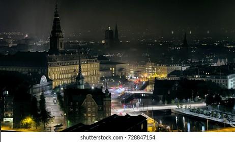 Copenhagen city center, high angle skyline view at night, Denmark