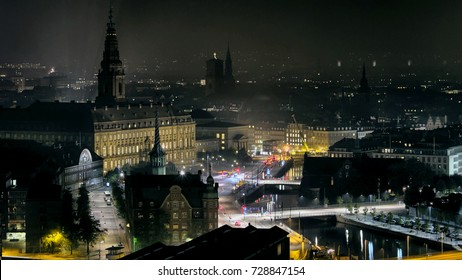 Copenhagen city center, skyline at night, Denmark