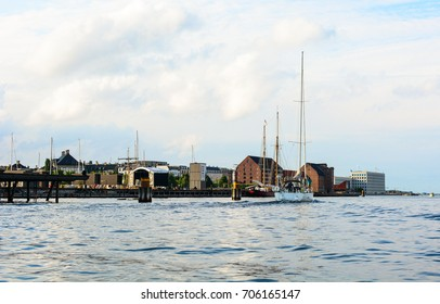 Copenhagen cityscape, Denmark. Old architecture on a canal bank, panoramic view of European city