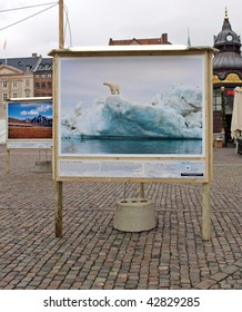 COPENHAGEN - DEC 12: Poster showing a hole in the ice which is part of the WWF during the UN Conference on Climate Change on December 12, 2009 in Copenhagen.