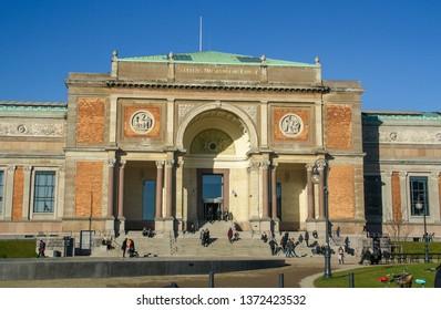 Copenhagen, Denmark; 02 16 2016. The National Gallery of Denmark (Danish: Statens Museum for Kunst, also known State Museum for Art) in Copenhagen. Facade and main entrance of the building.