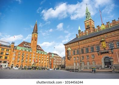 COPENHAGEN, DENMARK - 05 Apr 2017: City Hall Square in Copenhagen, Denmark