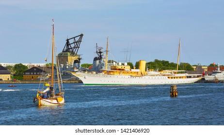 Copenhagen, denmark 06/02/2019 The view of the royal yacht Dannebrog