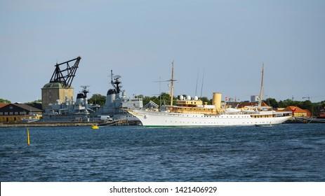 Copenhagen , Denmark 06/02/2019 the view of the  Royal Yacht Dannebrog