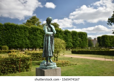 Copenhagen / Denmark - 07.23.19: Bronze statue of Liden Gunver by Theobald Stein in The King's Garden