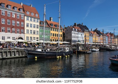 Copenhagen. Denmark.  08.29.17. Nyhavn or New Harbor  is a 17th century waterfront, canal and entertainment district from Kongens Nytorv to the harbor front in Copenhagen, Denmark.