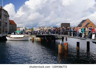 Copenhagen, Denmark - 09 09 2017:  Amazing crowd full of people crossing a bridge during a walkathon