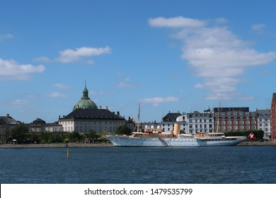Copenhagen, Denmark - 1 Aug 2019: The Royal Yacht Dannebrog was named by Queen Alexandrine in Copenhagen in 1931 and hoisted its flag for the first time on 26 May 1932.