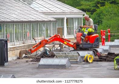 Copenhagen, Denmark - 10 June 2018 - Heavy construction equipment in road construction.