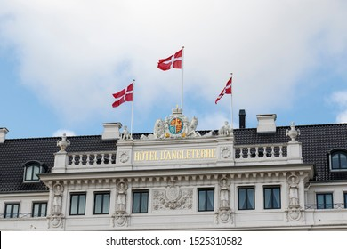 Copenhagen, Denmark, 10/2/2019. d'Angleterre Hotel, Kongens Nytorv. One of Denmark's most exclusive hotels with a history back to 1755 . It has accommodated Winston Churchill,  Michael Jackson etc.