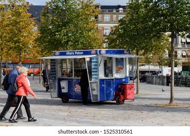 Copenhagen, Denmark, 10/2/2019. Traditional mobile Danish hotdog stand.