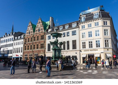 Copenhagen, Denmark - 10/25/2018: Famous Stork Fountain located on Amagertorv in central Copenhagen