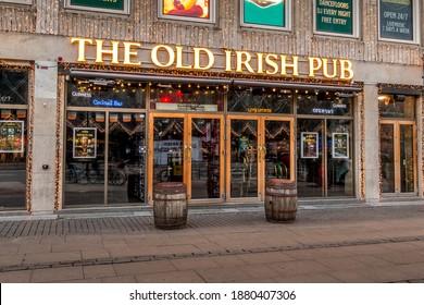 Copenhagen, Denmark - 12 Dec 2020: The Logo of the The Old Irish Pub in Copenhagen