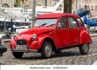 Copenhagen, Denmark - 12 September, 2017: Old citroen 2CV on the street of Copenhagen.