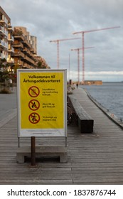 Copenhagen, Denmark - 14.10.2020: Signage showing area restrictions due to Covid-19 in the Århusgade/Nordhavn district