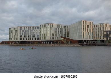 Copenhagen, Denmark - 14.10.2020: The UN City / WHO regional office seen from the north