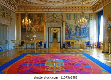 COPENHAGEN, DENMARK -15 MAY 2018- View of the Royal Reception Rooms at Christiansborg Palace in Copenhagen, still used by the Queen for official occasions. Denmark is a monarchy.