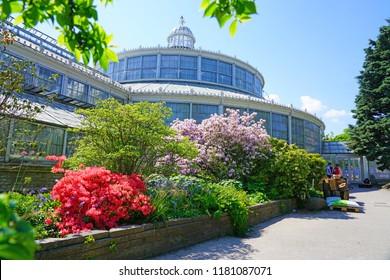 COPENHAGEN, DENMARK -15 MAY 2018- View of the historic glass greenhouses at the University of Copenhagen Botanical Garden (Botanisk have) in Copenhagen, Denmark.