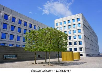 COPENHAGEN, DENMARK -15 MAY 2018- View of the A P Møller Maersk Head Office, the landmark headquarters building of the Maersk shipping company located on the harbor in Copenhagen, Denmark.