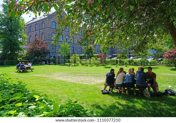 COPENHAGEN, DENMARK -15 MAY 2018- View of the University of Copenhagen (UCPH) (Københavns Universitet), the oldest university and research institution in Denmark.
