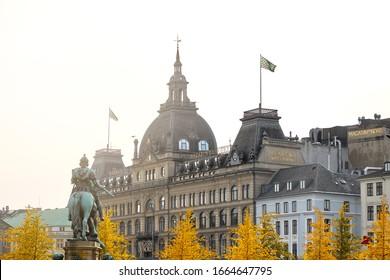 Copenhagen, Denmark - 15 Oct, 2019: Magasin du Nord, a Danish chain of department stores located close to the Kongens Nytorv square.  Autumn view of Copenhagen Denmark.