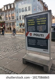 Copenhagen, Denmark - 18/09/2020: Party district Gothersgade is marked with Coronavirus warning zone signs by the municipality