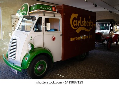 Copenhagen, Denmark - 18th November 2018: Old Vintage Carlsberg delivery van in the Carlsberg brewery museum in Copenhagen city centre. A must see visit for tourists and visitors to the city.