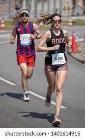 Copenhagen, Denmark - 19. may 2019: Runners compete in the Telenor Copenhagen Marathon 40th anniversary edition