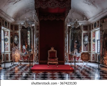 COPENHAGEN, DENMARK - 2014 Jun 08: Interior (The Knights Hall of Rosenborg Castle).  The main attractions of Rosenborg are the coronation chairs, (King and Queen), guarded by the three silver lions.