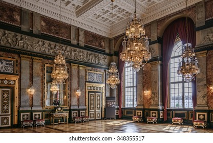 COPENHAGEN, DENMARK - 2014 Jun 10: Luxury interior in the complex Christiansborg Slot Palace in Copenhagen, Denmark
