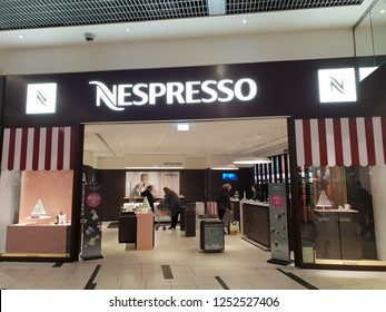 COPENHAGEN, DENMARK - 22 NOVEMBER, 2018: Nespresso shop. Nespresso is the brand name of Nestlé Nespresso S.A., an operating unit of the Nestlé Group, based in Lausanne, Switzerland.