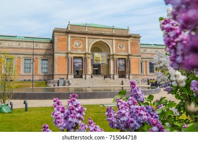 COPENHAGEN, DENMARK - 23RD MAY 2017:  The outside of Statens Museum for Kunst in Copenhagen during the day in the spring. People can be seen.
