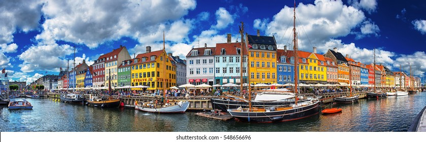 COPENHAGEN, DENMARK - 26 JUNE, 2016: Colorful houses at Nyhavn, Copenhagen, Denmark