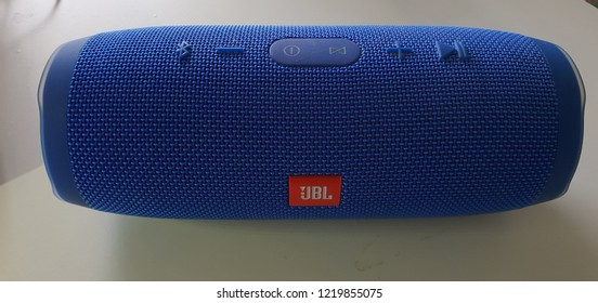 Copenhagen, Denmark - 30 October, 2018: Blue Speaker JBL Charge 3