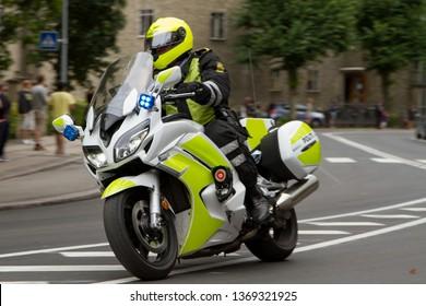Copenhagen, Denmark - 31th july 2016: Danish motorcycle policeman as part of Danish cycling race