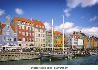 COPENHAGEN, DENMARK: 5 April 2017 - Nyhavn or New Harbour is a 17th-century waterfront, canal and entertainment district in Copenhagen, Denmark
