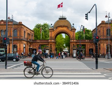 Copenhagen, Denmark, 7 May 2014. Traffic in front of  main gate to Tivoli Park